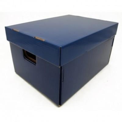 Caja de archivo americana alta 42x32x25 cm azul