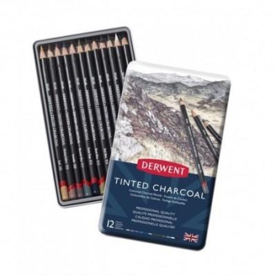 Carbón Pigmentado Tinted Charcoal x12 colores lata Derwent