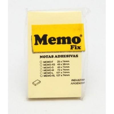 Nota adhesiva 49x74mm x100 hojas AMARILLO Memo Fix