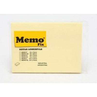 Nota adhesiva 101x74mm x100 hojas AMARILLO Memo Fix