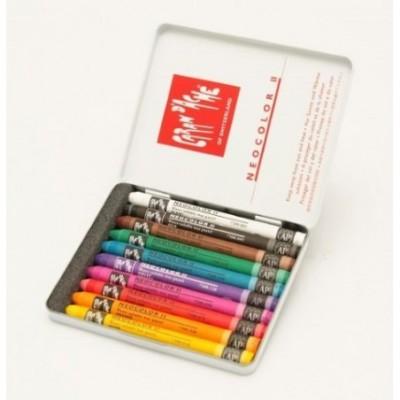 Crayon neocolor II acuarelable x 10 colores lata CD'A