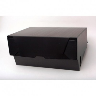 Caja archivo de plastico oficio 12 tapa volcada Negra Plana