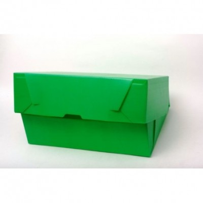 Caja archivo de plastico legajo 12 tapa volcada Verde Plana