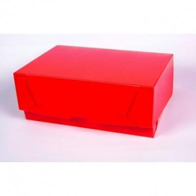 Caja archivo de plastico oficio 12 tapa volcada Roja Plana