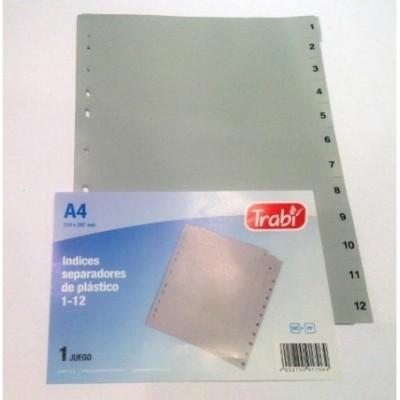 Separadores plastico A4 1-12 Trabi